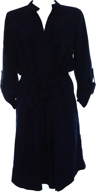 Studio M Rolled Sleeve Shirt Dress, Dark Navy Small