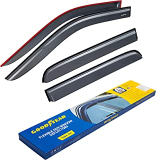 Goodyear Shatterproof Side Window Deflectors for Trucks Dodge RAM 2009-2018 Crew Cab, Tape-on Rain Guards, Vent Window Visors, 4 Pieces – GY003106