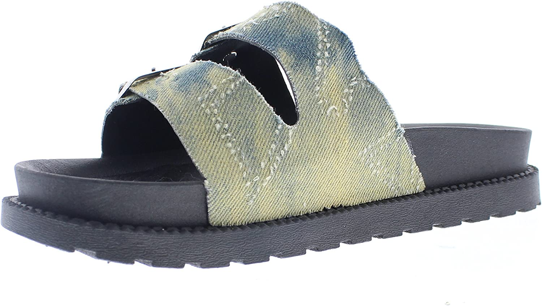 gold Toe Womens Trixie Double Buckle Platform Sandal shoes,Casual Slip On Open Toe Flip-Flop Flat Slides