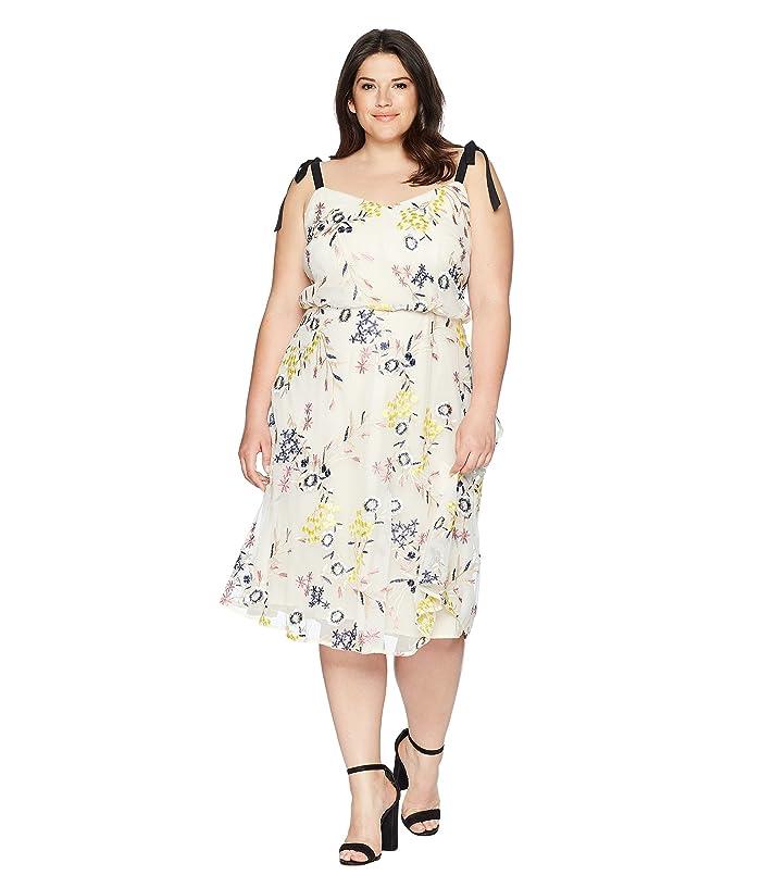 Donna Morgan Plus Size Embroidered Mesh Blouson Midi | 6pm