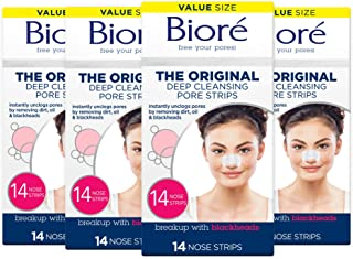 Bioré Original, Deep Cleansing Pore Strips, Nose Strips for Blackhead Removal, with Instant Pore Unclogging, 14 Count, 4-p...