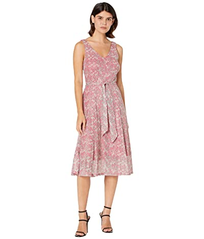 MICHAEL Michael Kors Petite Floral Mesh V-Neck Flare Dress