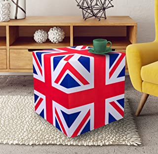 PSCube Union Jack UK End Table Cube Stool Ottoman Bench Seat Foot Rest. Sturdy 350 lb+. Sit on Any Side. Multifunctional. (18''x18''x18'' UK).