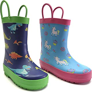 Cute Rain Boots for Boys, Girls, Kids, Toddlers 2-8yrs. Fun Patterns on Super Soft Durable Rubber. Bright Matt Colors, Won't Slip, Easy to Clean, with Handles. Dinosaurs and Unicorns Pattern.