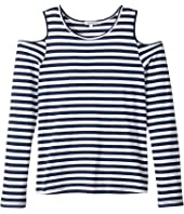 Splendid Littles - Long Sleeve Cold Shoulder Stripe Top (Big Kids)