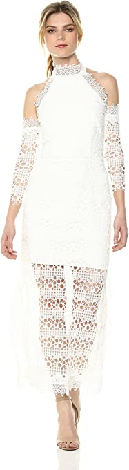 Elliatt Women's Apparel Womens E6041810 Cold Shoulder Lace Overlay Midi Dress with Illusion Hem 3/4 Sleeve Dress