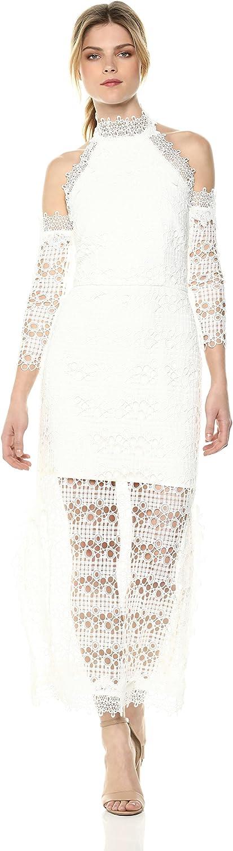 Elliatt Women's Apparel Womens Cold Shoulder Lace Overlay Midi Dress with Illusion Hem Dress