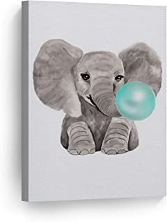 Smile Art Design Cute Baby Elephant Animal Bubble Gum Art Teal Blue Canvas Print Watercolor Painting Wall Art Home Decoration Pop Art Kids Room Decor Nursery Ready to Hang Made in The USA 12x8