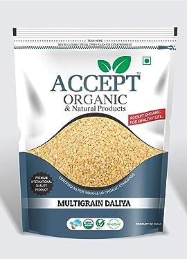 Accept Organic Multigrain Daliya / Mixed Dalia 1 KG Pack of Healthy & Organic Grains