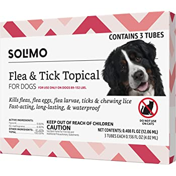 Amazon Brand - Solimo Flea and Tick Topical Treatment for Dogs, For XLarge Dogs (89-132 pounds)