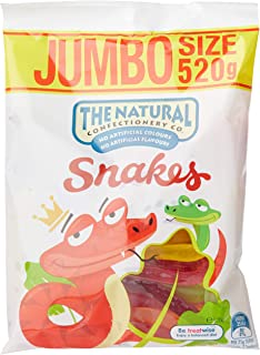The Natural Confectionery Company Jumbo Snakes Lollies, 10 x 520 Grams