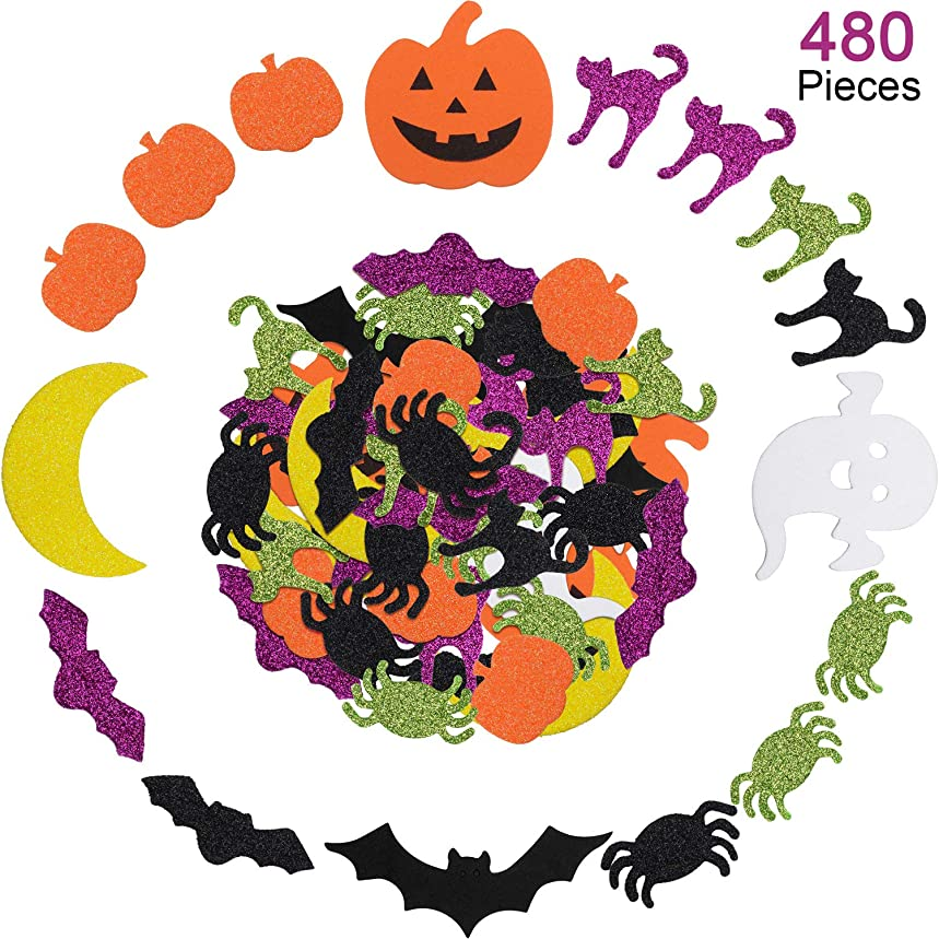 Halloween Foam Stickers Assorted Styles Foam Stickers Self Adhesive Foam Craft Stickers for Halloween Party Decoration (480 Pieces)