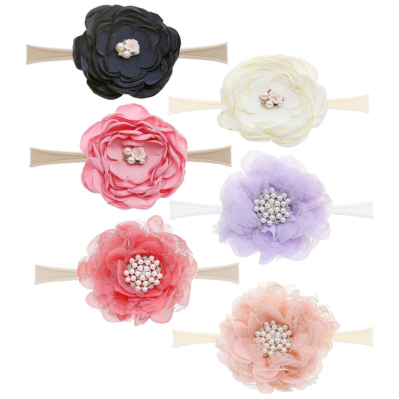 6PCS Big Bows Super wholesale beauty product restock quality top Baby Nylon Headbands Hairbands Hair H Elastics Bow