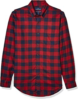 Buttoned Down mens Tailored Fit Supima Cotton Plaid Flannel Sport Shirt