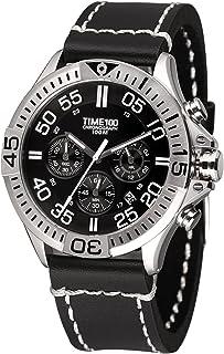 Time100 Men's Genuine Leather Business Quartz Watches Sport Leisure Fashion Multifunction Watches