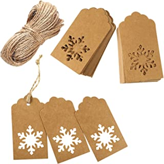Aneco 150 Pieces Kraft Paper Tags Hang Labels Christmas Tags with 30 Meters Natural Twine for Christmas Wedding Gift Favor DIY Arts and Crafts and Holiday,Snowflake Shape