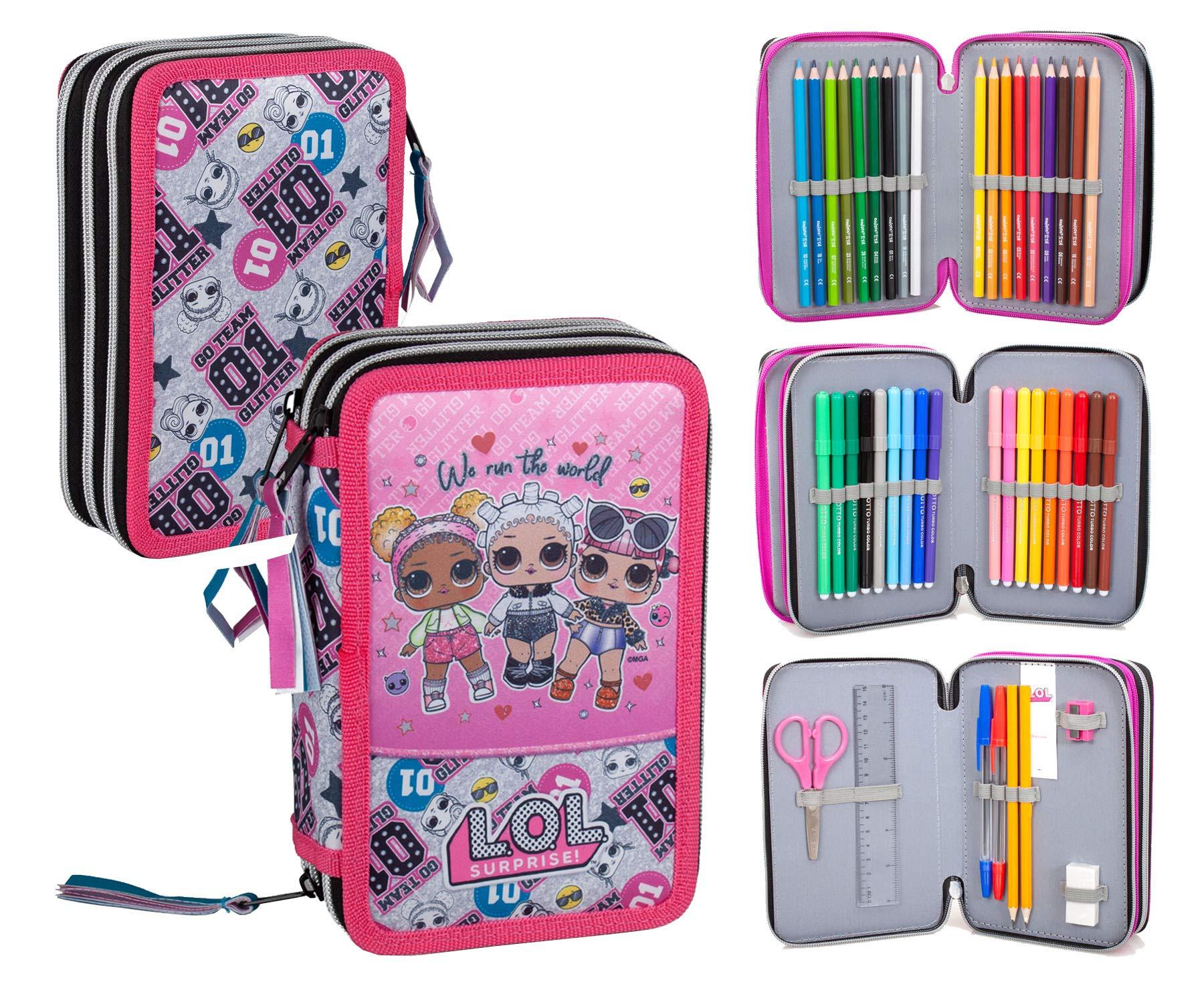 Lol Surprise 92424 - Estuche triple relleno, 44 accesorios escolares, 20 centímetros: Amazon.es: Oficina y papelería