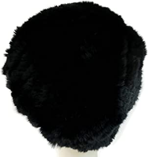 surell Rex Rabbit Fur Knit Hat - Rabbit Fur Slouch Style Hat - Warm Winter Fashion - Perfect Elegant Luxury Gift