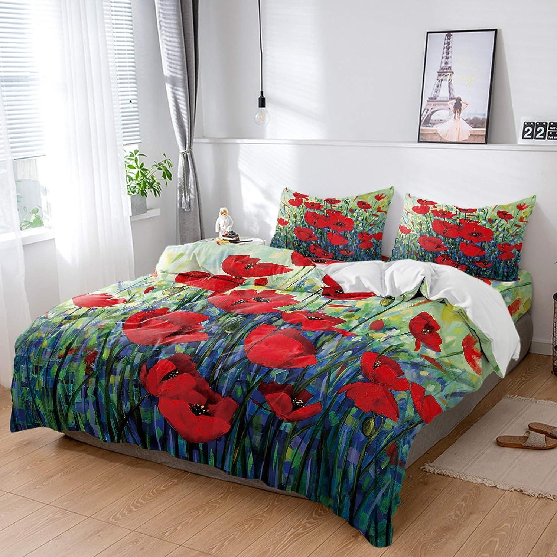 ZL Home specialty shop Bedding Sets 4 Pieces Flower Superlatite Cover Poppy Soft Duvet Red