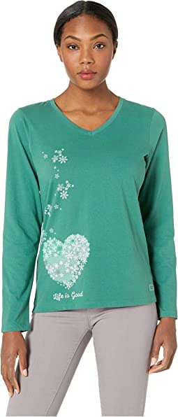 Floating Hearts Crusher Long Sleeve Vee