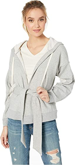 Jacket Belted Hoodie Knit Bomber