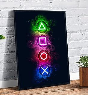 Quadro decorativo emoldurado Gamer Videogame Plasytation Botões