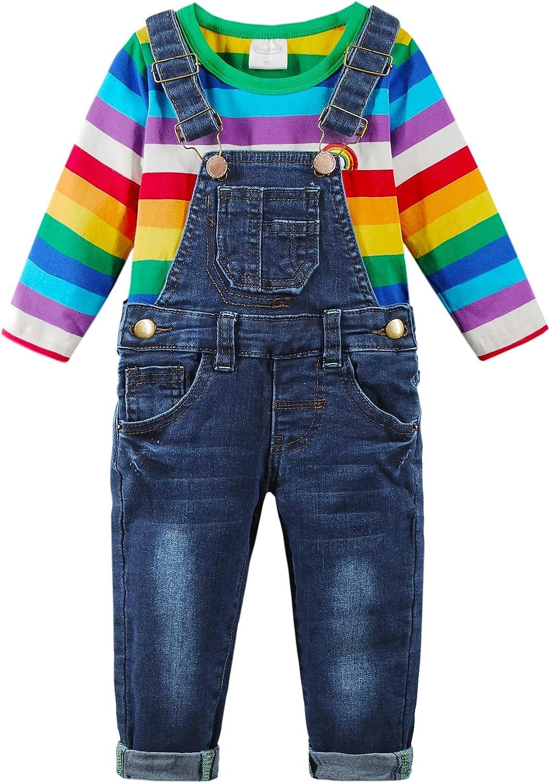 Chumhey Unisex Baby & Toddler 2pc Long Sleeve Rainbow Shirt Big Bib Slim Denim Pants Set