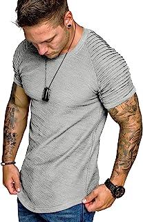 Men's Muscle T-Shirt Pleated Raglan Sleeve Bodybuilding Gym Tee Short Sleeve Fashion Workout Shirts Hipster Shirt