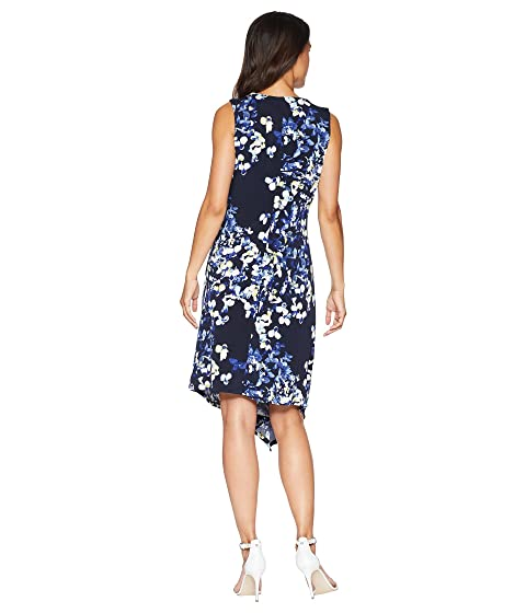 Ellen Tracy Twisted Front Sleeveless Dress Trellis Blossom/Ink Discount Affordable Outlet Perfect Sale Big Discount Buy Cheap Looking For Buy Online 5TyZVpGva