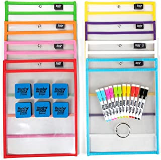 [15 Pack] 10x14 Premium Reusable Dry Erase Pockets with Unlimited WORKSHEETS & Free Bonuses. Each Heavy Duty Dry Erase Pocket Ideal for Office, School Supplies, Classroom Supplies by ReadySet