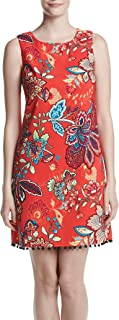 AGB Womens Red Floral Shift Dress