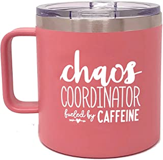 Camper Coffee Mug Tumblers for Women - Double Walled Vacuum Sealed Stainless Steel 14 oz Tumbler (Chaos Coral)