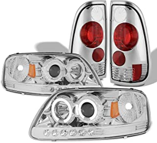 For 97-03 F150/97-99 F250 Dual LED Halo Ring Chrome Clear Projector Headlights + Corner + Tail light Set