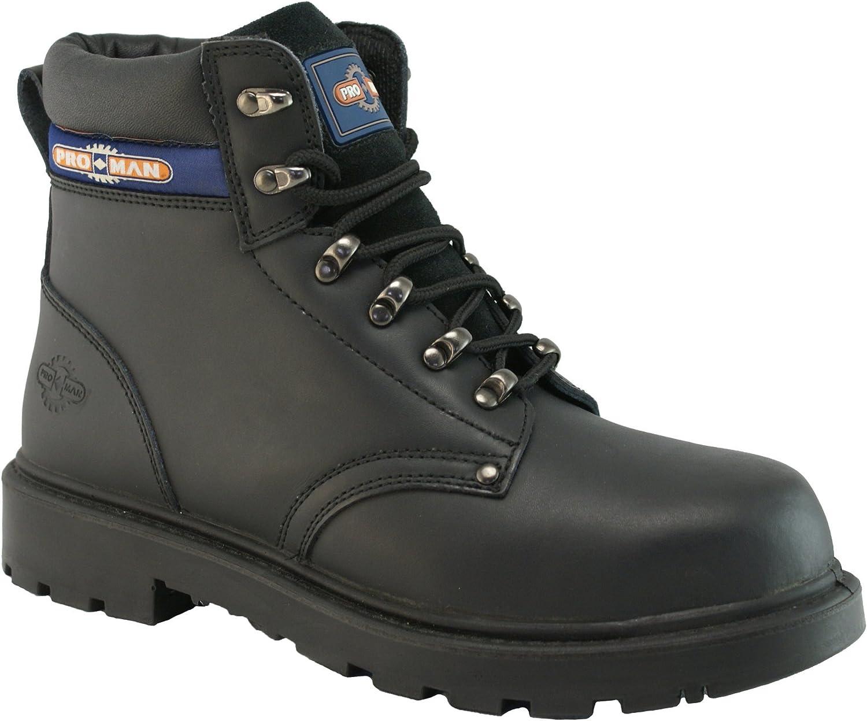 Pro-Man Men's Leather Steel Toe Cap Work Boots Pair US Size 9 Black