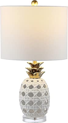 Safavieh Lighting Collection Sonny Pineapple 24-inch Ceramic Table Lamp (LED Bulb Included) TBL4357A, White