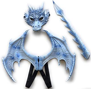Affordable Treasures Halloween Ice Blue and White Dragon Accessory Kit Including Dragon Mask, Wings and Tail for Adults and Children
