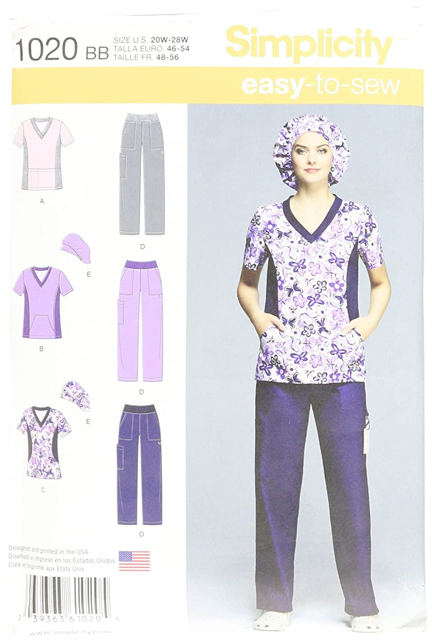 Simplicity Easy To Sew Scrubs Sewing Pattern For Women, Sizes 20W-28W
