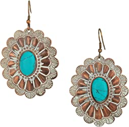 M&F Western - Chocolate and White Oval Concho Earrings