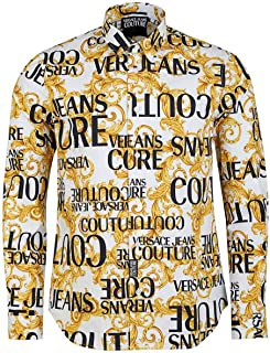 Jeans Couture Men Shirt Logo Baroque Bianco