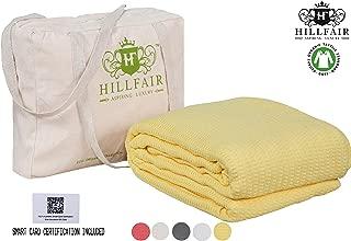 HILLFAIR 100% Certified Organic Cotton Winter Blankets- Queen Size Bed Blankets- All Season Cotton Blanket- Yellow Queen Size Cotton Blanket- Soft Queen Size Blankets for Bed - Organic Cotton Blankets
