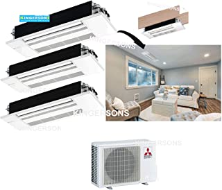 Mitsubishi 27,000 BTU 2 TON 3 x 9,000 BTU One Way Ceiling Cassette TRI Zone System - SEER 19 AC & Heat Pump Ductless Ceiling Recessed Cool & Heat