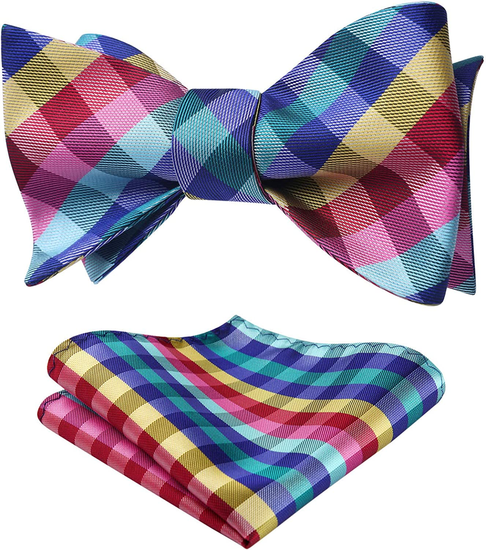 Bow Ties for Men Check Plaid Self Tie Bow Tie and Pocket Square Bowtie Formal Tuxedo Wedding Bowties Handkerchief Set