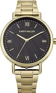 Karen Millen Women's Quartz Watch with Stainless-Steel Strap, Gold, 14 (Model: KM159BGM