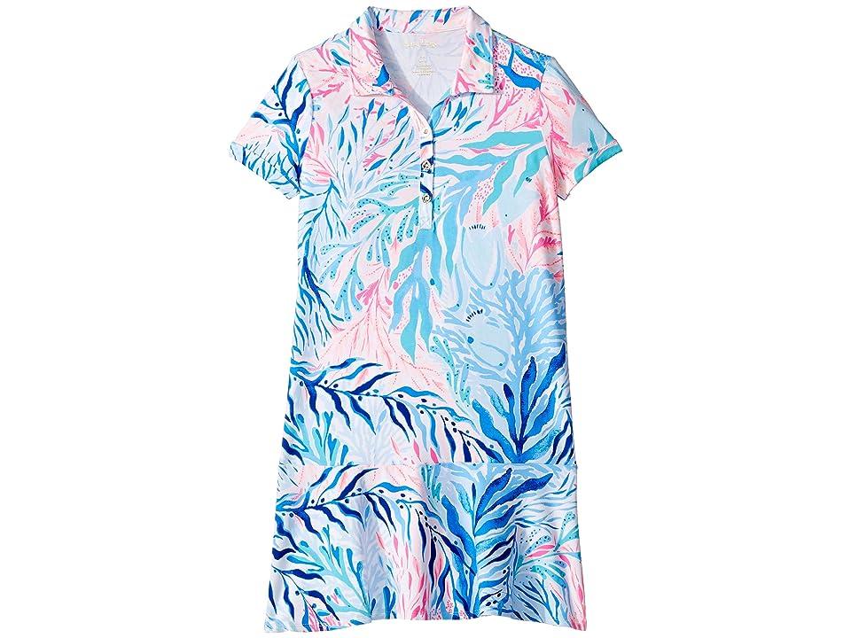 Lilly Pulitzer Kids UPF 50+ Mini Sadie Polo Dress (Toddler/Little Kids/Big Kids) (Crew Blue Tint Kaleidoscope Coral) Girl