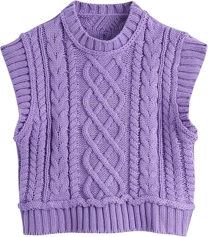 Hotmiss Sweater Vest Women Sleeveless Sweaters Uniform Cable Knit Sleeveless Sweater Chic Tops