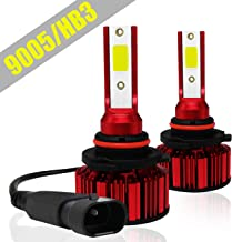 9005 HB3 LED Headlight Bulbs, 7600LM 6000K Cool White COB Chips All-in-One Conversion Kit w/360 Degree Adjustable Beam (Pack of 2)