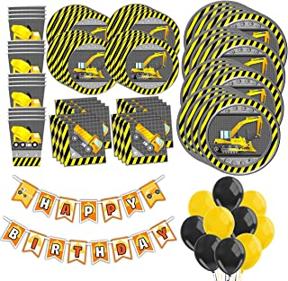 Construction Trucks Birthday Party Supplies MEGA Set Plates Napkins Cups Tableware Balloons Banner Kit for 16