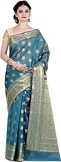Women's Cotton Silk Blend Indian Ethnic Banarasi Saree with unstitched Blousepiece(1105)