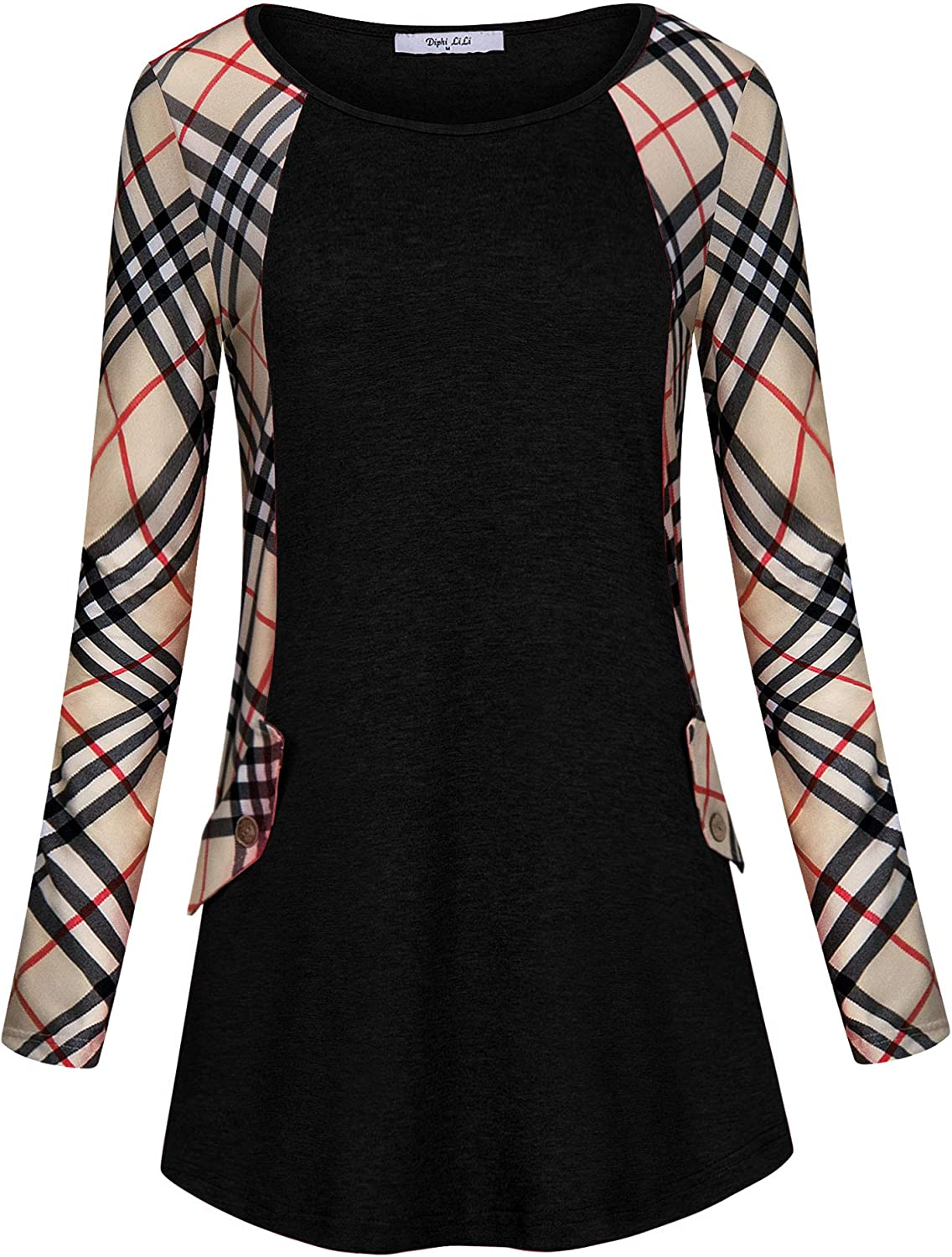 Diphi LiLi Women's Casual Plaid Long Sleeve with Pocket Loose Fit Blouse Tunic Tops