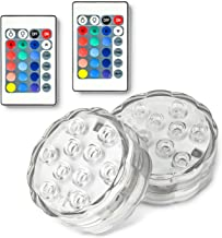 Semlos Submersible LED Lights, RGB Waterproof Pool Lights with 10 LED, IR Remote Control, Battery Powered for Aquarium, Fountain, Vase Base, Bathtubs, Swimming Pool, Pond, Hot Tub, Pack of 2